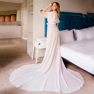 Bridal robe with train, sheer robe, long bride robe, maxi robe, ivory chiffon robe, bridal robe, boho chiffon floor