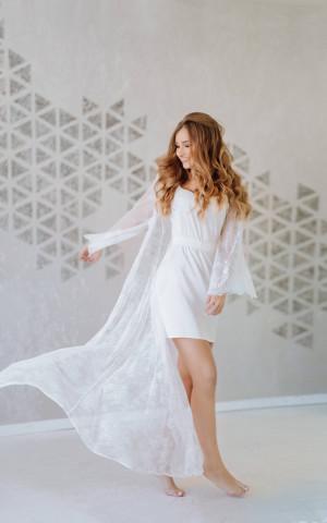 Bridal lace robe, boudoir dress, long bride robe, ivory lace robe, bridal nightgown, bridal dressing gown, bridal robes, ivory lace robe,