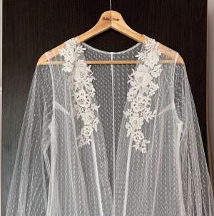 Boudoir robe long, Sheer robe with train, Lace bridal robe, Wedding day