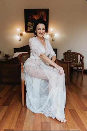 Sheer bridal robe, Long lace robe, Wedding robe, Bridal lingerie, Boudoir dress