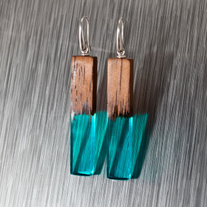 Earrings made of wood and epoxy resin with a silver clasp. A great gift for girl and woman. Geometric earrings are always relevant.