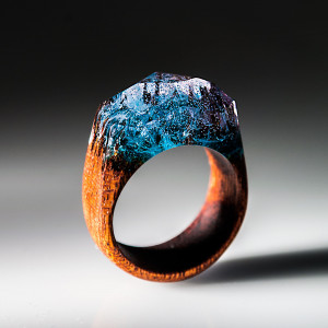 5th Anniversary Wood Gift for Wife - Wood Resin Ring for Women