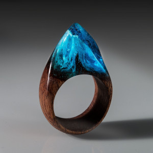 Wood Resin Ring - Exotic Wood Ring with Magic Resin Top. Blue Resin Ring for Woman With Secret World Inside.