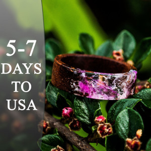 Wooden Band Resin Wood Ring for Women Pink Resin Art Wood Gift for Wife