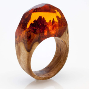 "Ring Acacia Wood and Resin ""Amber Light"". Resin Jewelry. Natural Wood Jewelry. Gift For Her. Unique gift. Handmade Wood Ring."