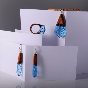 Wood Resin Jewelry Set - Exotic Wooden Jewelry with Transparent Resin Top . Makes Stunning 5th Anniversary Gift for Wife