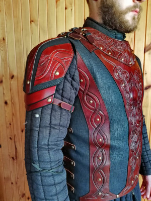 Leather larp armor, fantasy armor, leather chest armor, viking armor, shoulder armor