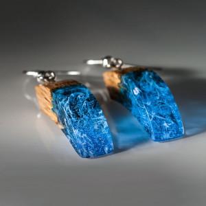 Blue Resin Earrings Drop Wooden Earrings Resin Jewelry Modern Earrings Make a Beautiful Nature Earrings Gift for Girlfriend