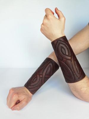 Viking leather bracers, LARP leather armor