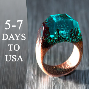 Green Ring Resin and Wood - Exotic Wood Ring with Multi Faceted Transparent Green Resin Top Makes Cool Wooden Gift for Wife