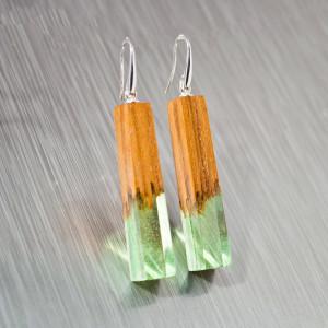 Green Resin Earrings Dangle - Bar Earrings Resin and Wood with Green Resin and Natural Wood Make Cool Geometric Earrings or Nature Earrings