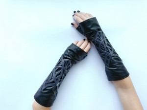 Leather mittens - fingerless leather gloves - long leather gloves - gothic leather mittens