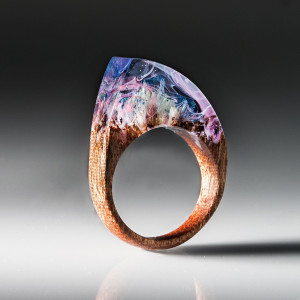 Pink Resin Wood Ring With Real Flowers - Wooden Ring with Transparent Resin Top. Anniversary present.