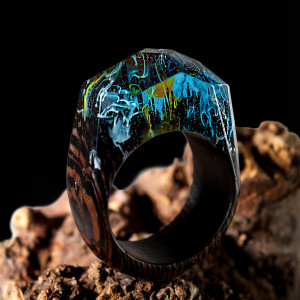 Wood Resin Ring - Nature Resin Wood Ring with Landscape Inside. Secret World Inside Wooden Ring with Fantastic Optical Illusion