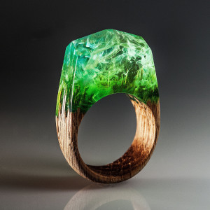Wood ring with resin art Secret world inside the ring Green resin jewelry wooden ring Makes cool wooden gift for girlfriend