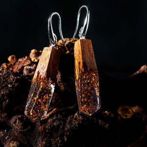 Wood Resin Earrings with Golden Flakes - Resin Wood Earrings Resin in a Bar Earring Shape Make a Beautiful Nature Earrings Gift for Her