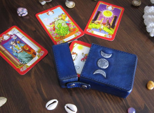 Leather Tarot case, Triple Goddess leather Tarot box, Moon Tarot bag, wiccan supplies