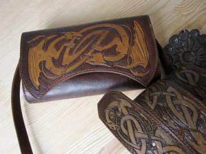 Leather shoulder bag, leather clutch, Celtic dragon fantasy bag, dragon gift for Mother of Dragon, leather tool bag