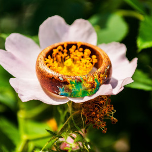 Resin Ring for Women - Floral Ring Band Wood Gift for Wife Nature Lover Gift