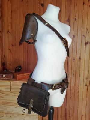 Ciri armor, shoulder armor, leather belt bag, LARP armor