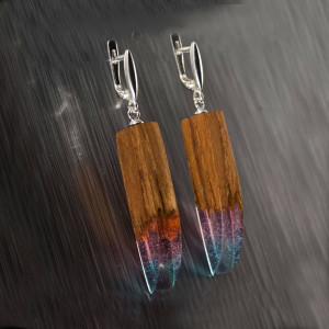 Wood resin earrings with silver findings. Geometric earrings. Drop earrings. Wooden earrings for women. Resin jewelry. Mothers day gift