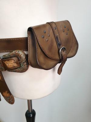 Leather belt bag, Medieval Leather bag, Fantasy leather bag, LARP bag