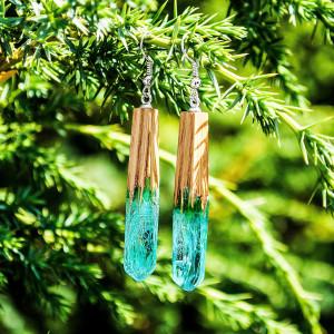 Resin earrings Long dangle earrings Botanical jewelry Wooden earrings Wood resin jewelry for women