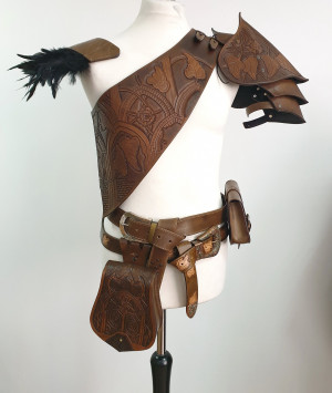 Elven baldric, fantasy leather armor, leather harness, larp sword-belt