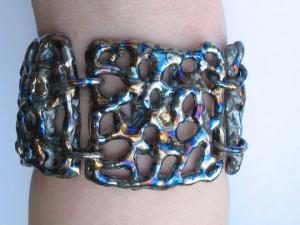 Titanium Statement bracelet, Weld art bracelet, Blue wide bracelet