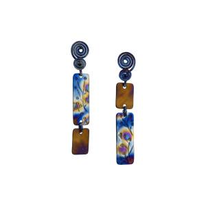 Stud titanium flower earrings, Mismatched Statement Titanium earrings, Hypoallergenic studs, Textured earrings, Stud earrings