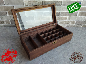 Rustic box Shabby rosewood Glass lid Father gift Organizer Bead storage Jewelry Small compartments Handmade jewelry Country style Gift