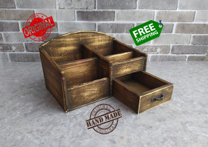 Rustic Wooden Organizer gift for father Jewelry Box Desk Drawer Country Style Gift Office School Student Handmade For father's box