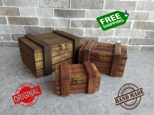Wooden box Lot 3 gift for father Handmade Rustic Drawer shabby color Old style chest Pirate  under Jewelry Antique Gift for her Brown coffee
