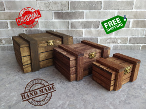 Lot 3 Wooden box Rustic gift for father Handmade Drawer shabby color Old style chest Pirate under Jewelry Antique Gift for her Brown coffee