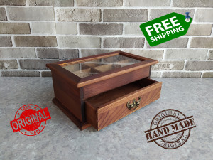 Rustic Wood box Lid glass gift for father Cosmetics Handmade jewelry box Keeping Vintage chest gift For father box Two yarn box Organizer