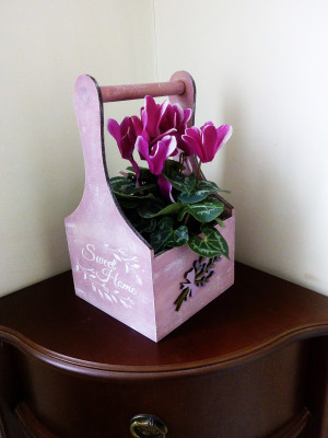 Wooden crate box for flowers Decorative basket with lavender Wooden Spring decor for home  Sweet home