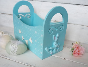 Personalized Easter decorations wooden Easter basket with funny Easter bunny Easter décor Spring Easter gift Egg hunt