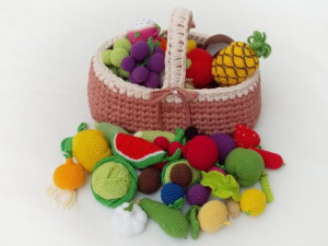 Baby gift toys, Fruits and vegetables crocheted, pretend play food,gift for baby, nursery decor, baby room decor,Christmas gift, home decor