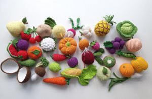 Crochet play food set (36 pcs) Crochet vegetables and fruit skitchen decoration, eco-friendly toys,Pretend play - Play food - Teething Toy