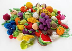 45 pcs-Crochet fruit and vegetable set /Pretend Play/ Kitchen Play Food/ Crochet Toy /Kitchen food/Crochet food /pineapple/coconut/avocado