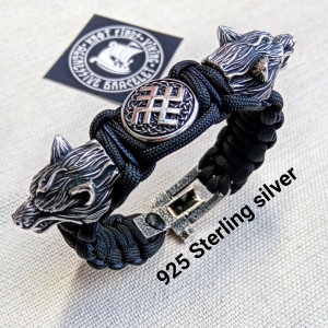 Viking jewelry. 925 Sterling silver and paracord bracelet. Mens luxury style.