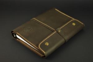 Leather notebook, documents organizer folder, refillable portfolio, men custom cards holder