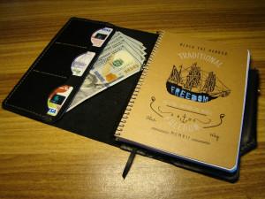 Leather portfolio, refillable notebook & organizer, men custom document folder, passport travel case