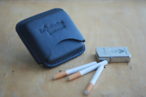 Small cigarette case, stitched cigar wallet, leather smoking accessory, men's tobacco box