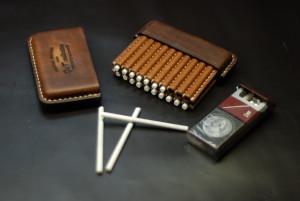 Leather cigarette case, stitched slim cigar wallet, custom smoking accessory, tobacciana small box