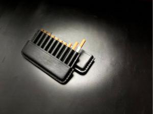 Leather cigarette case, black engraved cigar holder, custom husband gift, men's travel tobacco box