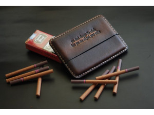 Monogrammed cigarette case, men's cigarillo pouch, brown leather cigar holder, smoking accessory