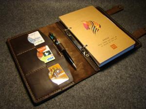 Leather refillable notebook, men custom portfolio, document folder, passport travel organizer