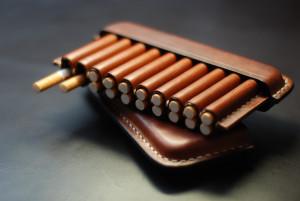 Cognac brown cigarette case, men's tobacco box, custom engraved cigar holder, smoking accessories