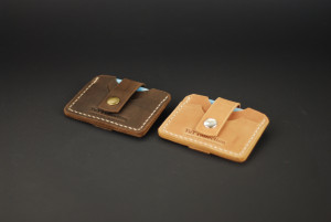 Leather card sleeve, slim card holder, small leather cash wallet, set of 2 business card cases